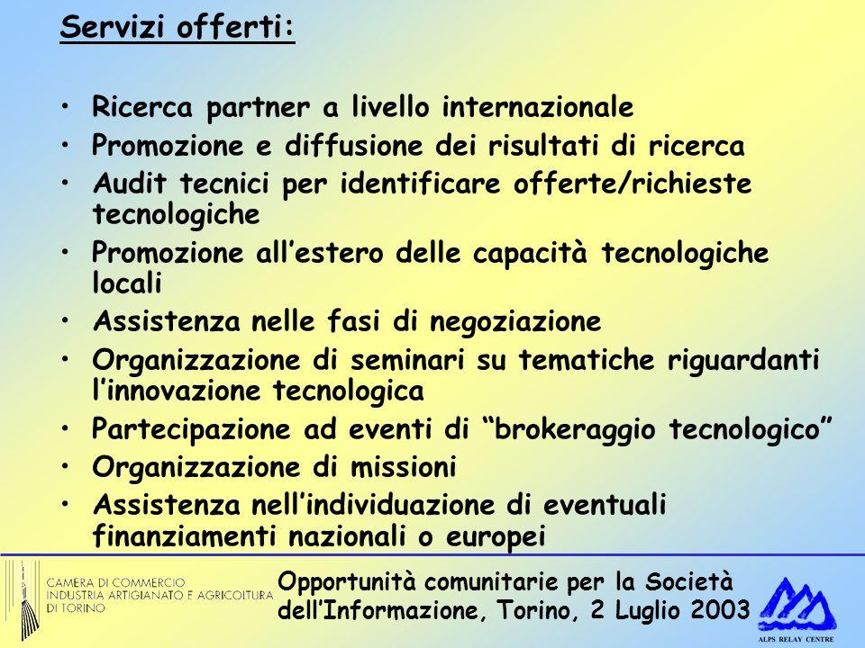 Opportunità comunitarie per la Società dellInformazione, Torino, 2 Luglio 2003 Servizi offerti: Ricerca partner a livello internazionale Promozione e