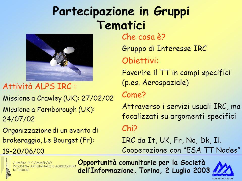 Opportunità comunitarie per la Società dellInformazione, Torino, 2 Luglio 2003 Partecipazione in Gruppi Tematici Che cosa è? Gruppo di Interesse IRC O
