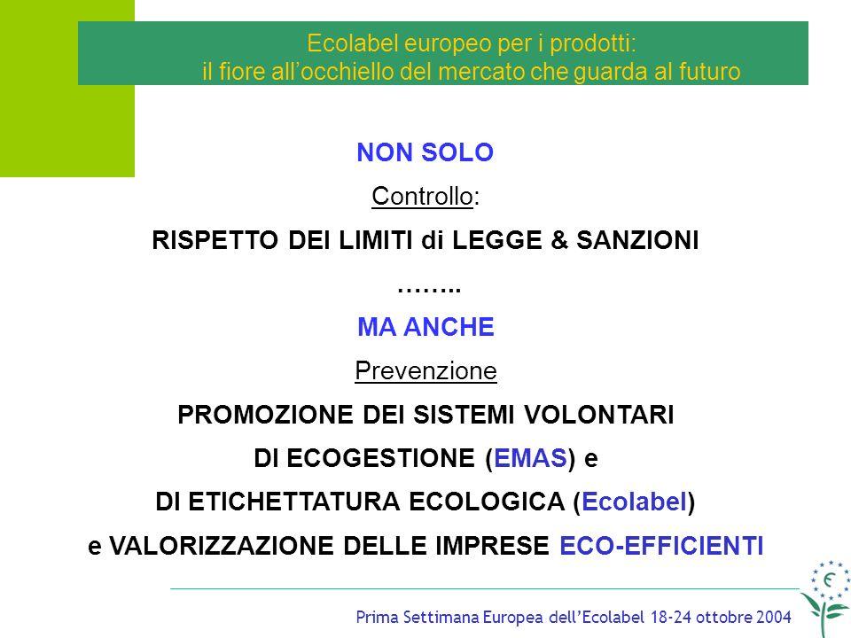 Prima Settimana Europea dellEcolabel 18-24 ottobre 2004 Ecolabel europeo per i prodotti: il fiore allocchiello del mercato che guarda al futuro NON SOLO Controllo: RISPETTO DEI LIMITI di LEGGE & SANZIONI ……..