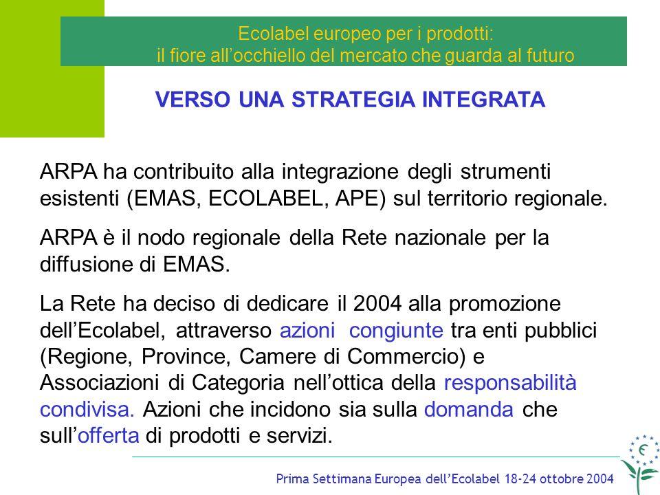 Prima Settimana Europea dellEcolabel 18-24 ottobre 2004 Ecolabel europeo per i prodotti: il fiore allocchiello del mercato che guarda al futuro VERSO UNA STRATEGIA INTEGRATA ARPA ha contribuito alla integrazione degli strumenti esistenti (EMAS, ECOLABEL, APE) sul territorio regionale.