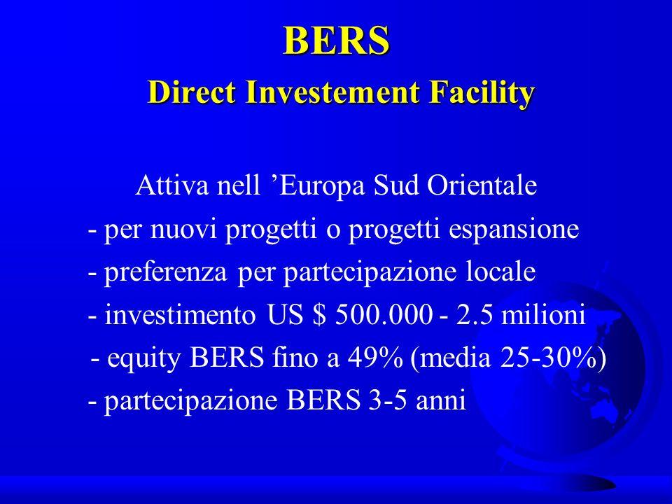 BERS Direct Investement Facility Attiva nell Europa Sud Orientale - per nuovi progetti o progetti espansione - preferenza per partecipazione locale - investimento US $ 500.000 - 2.5 milioni - equity BERS fino a 49% (media 25-30%) - partecipazione BERS 3-5 anni