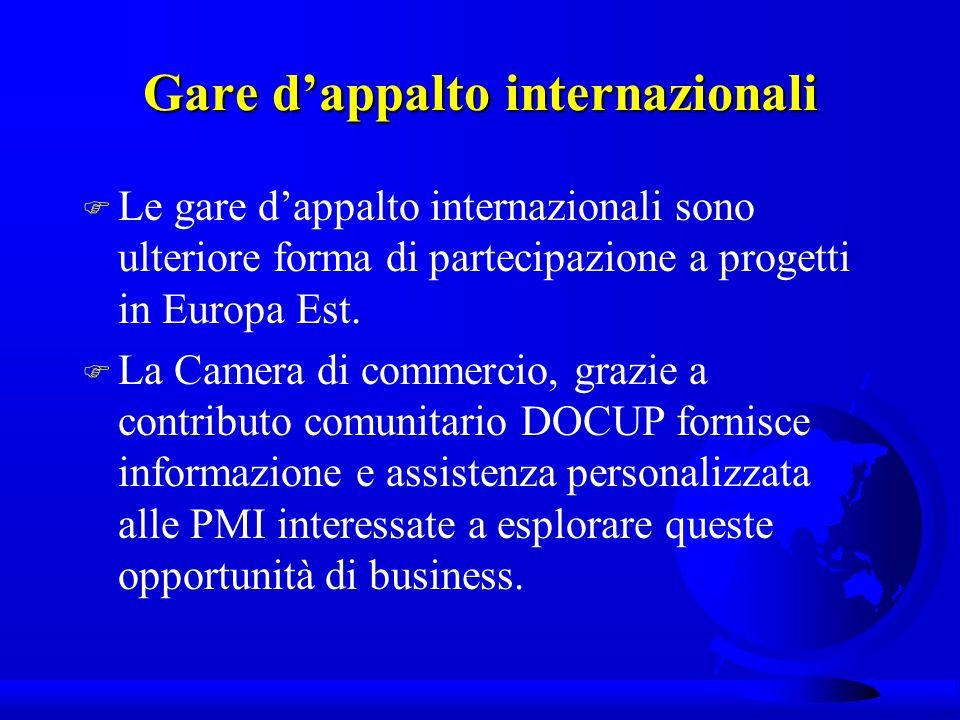 Gare dappalto internazionali F Le gare dappalto internazionali sono ulteriore forma di partecipazione a progetti in Europa Est.