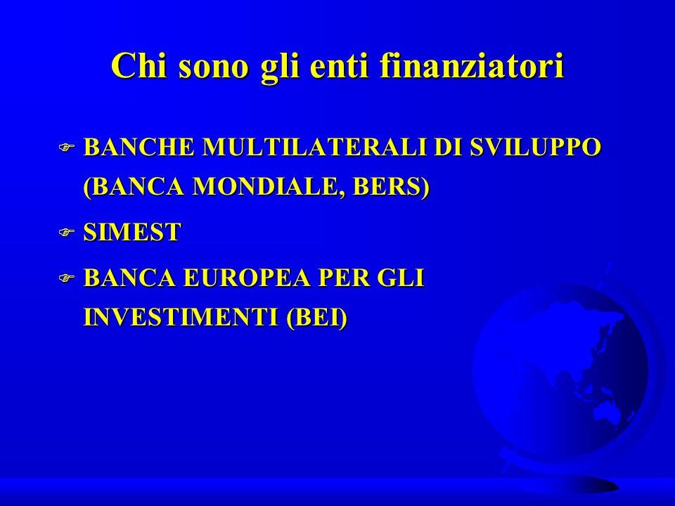 Chi sono gli enti finanziatori F BANCHE MULTILATERALI DI SVILUPPO (BANCA MONDIALE, BERS) F SIMEST F BANCA EUROPEA PER GLI INVESTIMENTI (BEI)