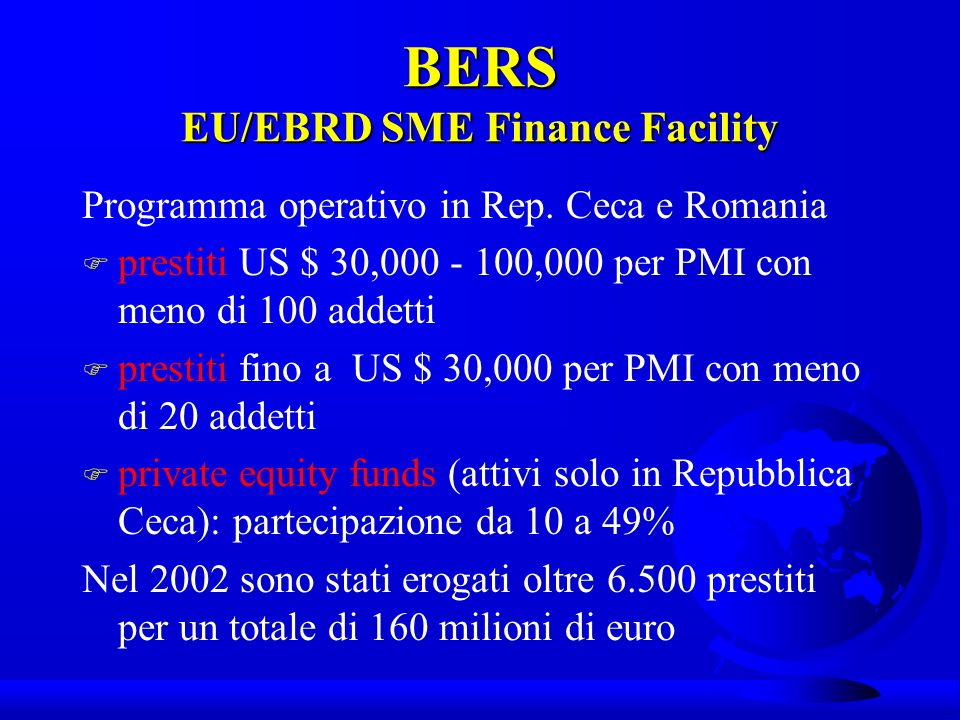 BERS EU/EBRD SME Finance Facility Programma operativo in Rep.