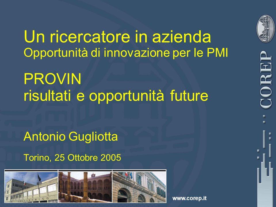www.corep.it Un ricercatore in azienda Opportunità di innovazione per le PMI PROVIN risultati e opportunità future Antonio Gugliotta Torino, 25 Ottobre 2005