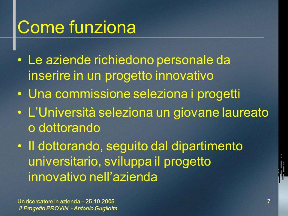 Un ricercatore in azienda – 25.10.2005 Il Progetto PROVIN - Antonio Gugliotta 7 Come funziona Le aziende richiedono personale da inserire in un progetto innovativo Una commissione seleziona i progetti LUniversità seleziona un giovane laureato o dottorando Il dottorando, seguito dal dipartimento universitario, sviluppa il progetto innovativo nellazienda