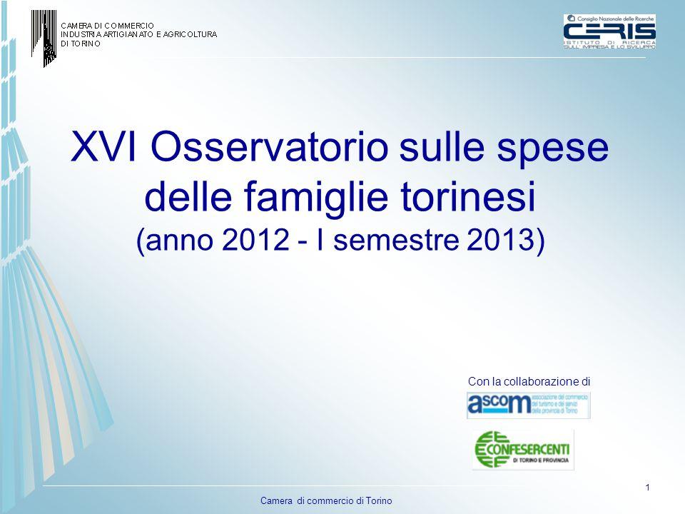 Camera di commercio di Torino XVI Osservatorio sulle spese delle famiglie torinesi (anno 2012 - I semestre 2013) 1 Con la collaborazione di