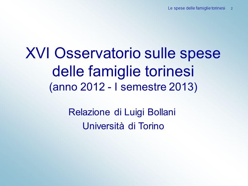 XVI Osservatorio sulle spese delle famiglie torinesi (anno 2012 - I semestre 2013) Le spese delle famiglie torinesi 2 Relazione di Luigi Bollani Unive