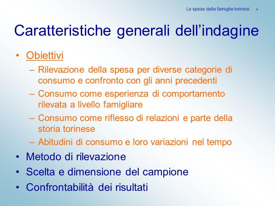 Le spese delle famiglie torinesi 35 Confronto tra Torino e Milano A Torino sono maggiori le quote per pane e cereali, latticini, carni e verdura; gli altri generi sono proporzionalmente più consumati a Milano (differenza rilevante nella quota di bevande alcoliche).