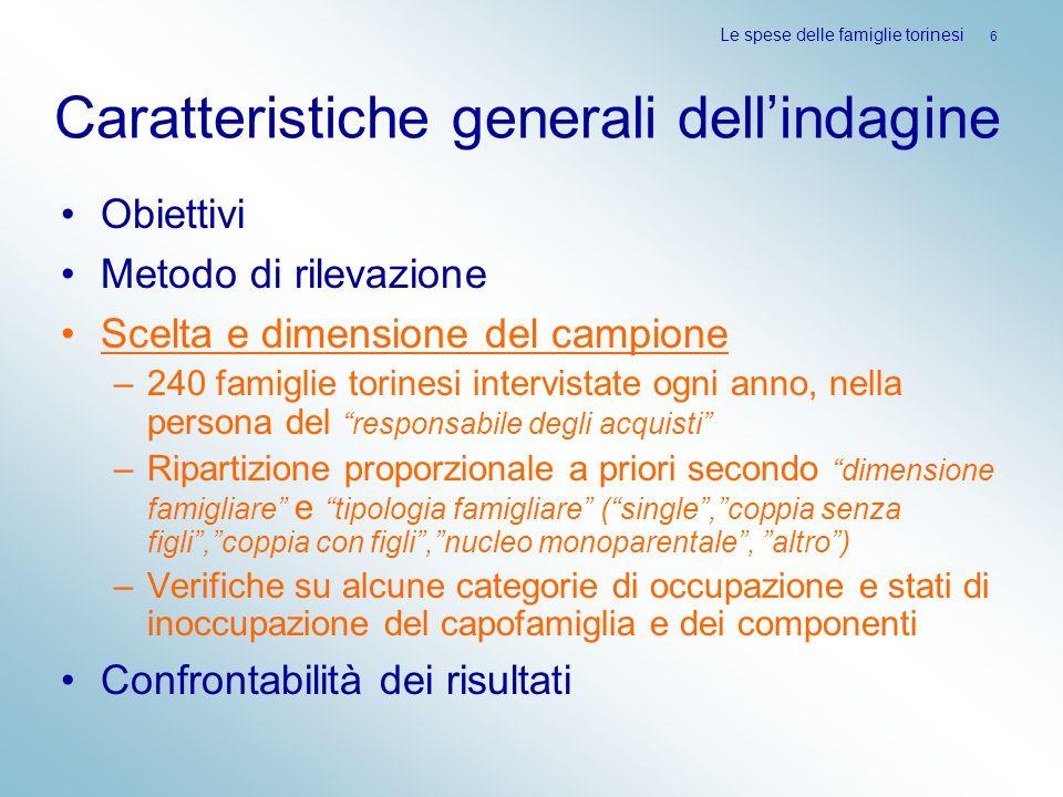 Caratteristiche generali dellindagine Obiettivi Metodo di rilevazione Scelta e dimensione del campione –240 famiglie torinesi intervistate ogni anno,