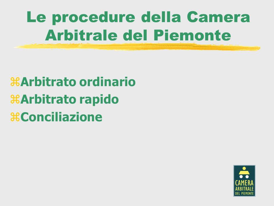 Le procedure della Camera Arbitrale del Piemonte zArbitrato ordinario zArbitrato rapido zConciliazione
