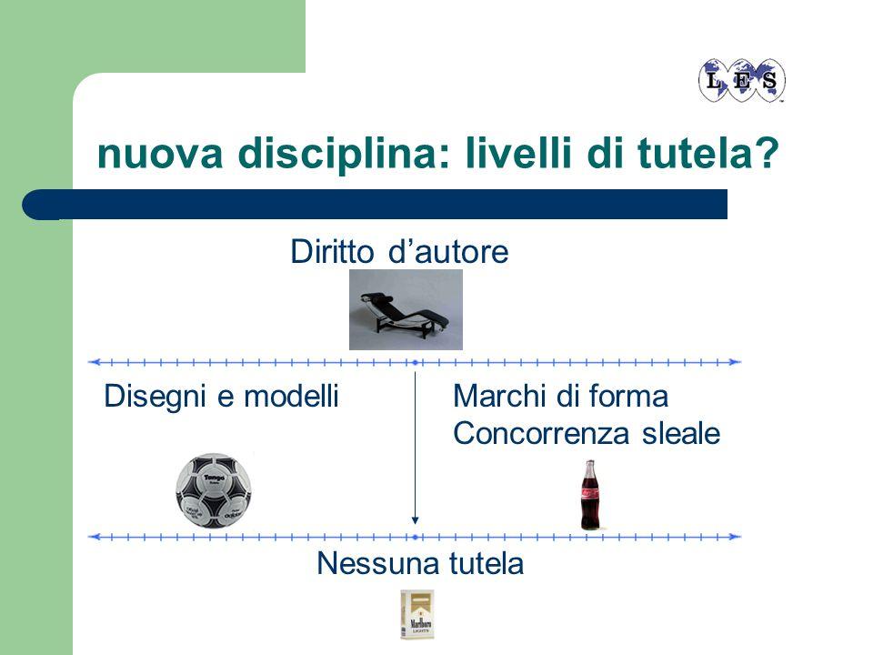 nuova disciplina: livelli di tutela? Diritto dautore Disegni e modelliMarchi di forma Concorrenza sleale Nessuna tutela