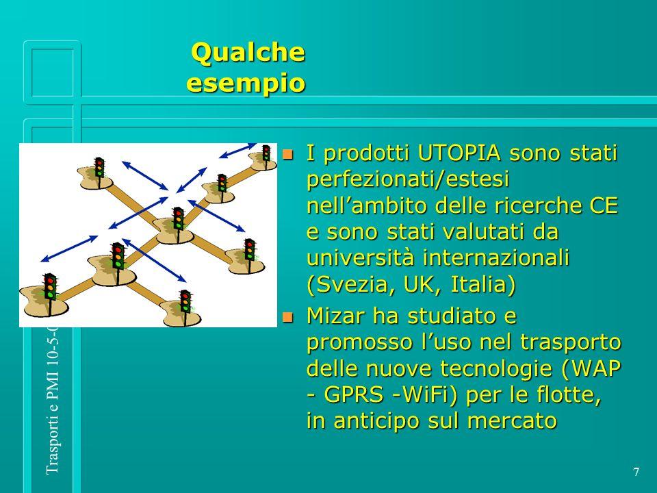 Trasporti e PMI 10-5-05 7 n I prodotti UTOPIA sono stati perfezionati/estesi nellambito delle ricerche CE e sono stati valutati da università internazionali (Svezia, UK, Italia) n Mizar ha studiato e promosso luso nel trasporto delle nuove tecnologie (WAP - GPRS -WiFi) per le flotte, in anticipo sul mercato Qualcheesempio