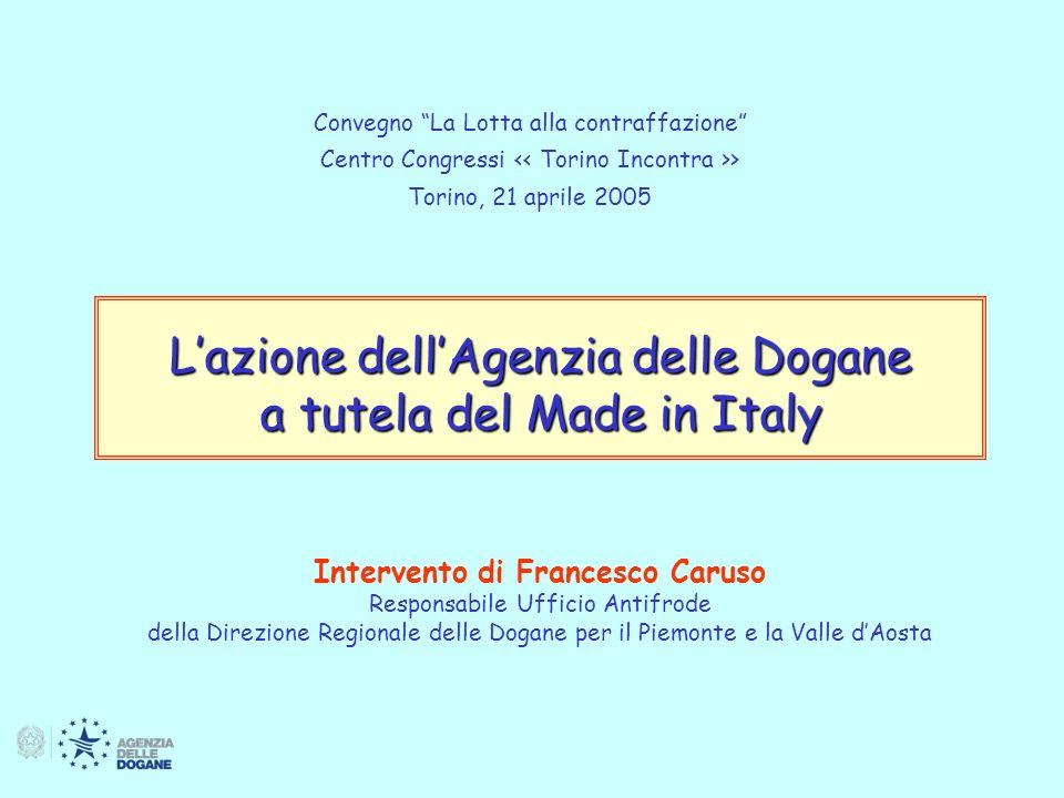 L azione dell Agenzia delle Dogane a tutela del Made in Italy 12 Definizioni: Merci contraffatte Le merci, compreso il loro imballaggio qualsiasi segno distintivo (logo, etichetta, opuscolo ecc..