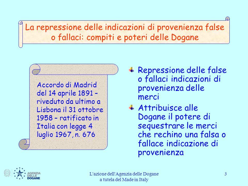 L azione dell Agenzia delle Dogane a tutela del Made in Italy 14 Definizioni: altri casi Merci che, nello Stato membro in cui è presentata la domanda, ledono i diritti relativi a: un brevetto ai sensi della legislazione di tale Stato membro; un certificato protettivo complementare (Regolamenti CE n.