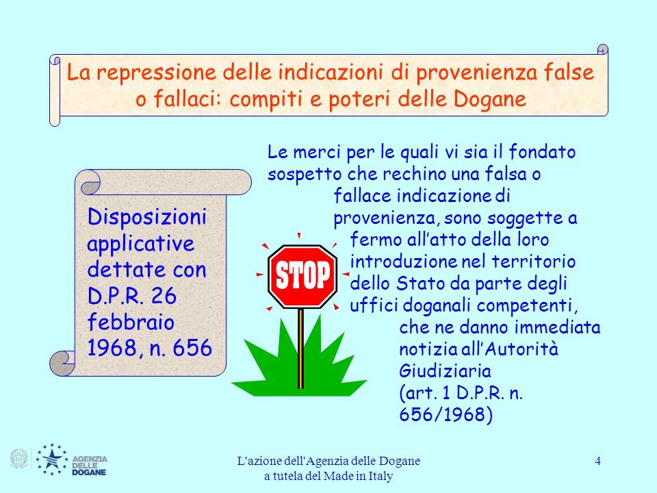 L azione dell Agenzia delle Dogane a tutela del Made in Italy 25 La pagina iniziale di FALSTAFF