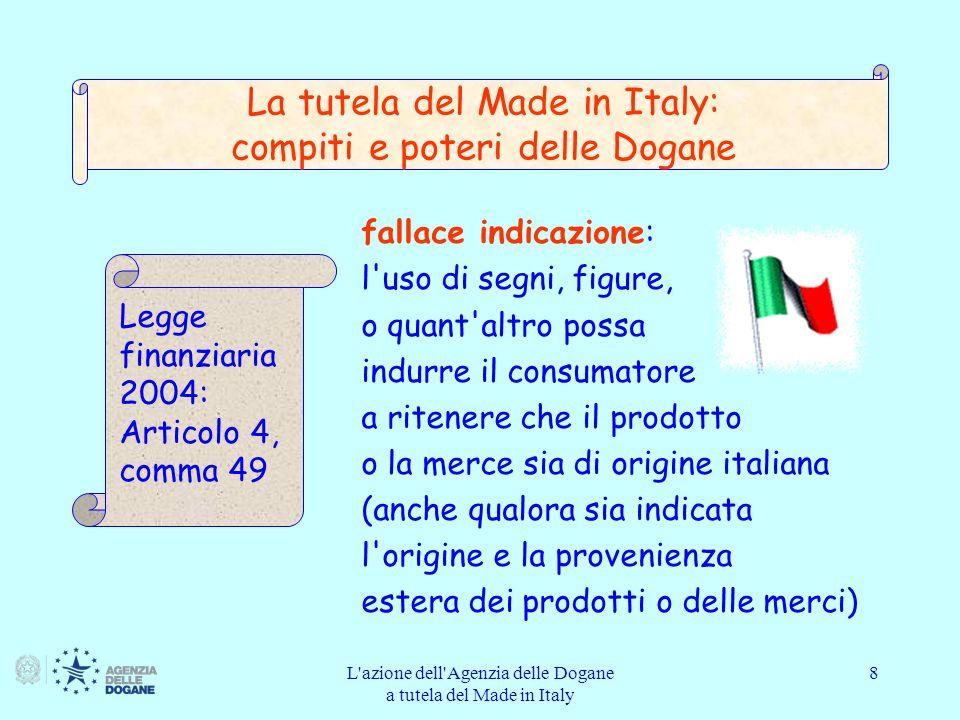 L azione dell Agenzia delle Dogane a tutela del Made in Italy 9 le fattispecie sono commesse sin dalla presentazione dei prodotti o delle merci in dogana per l immissione in consumo o in libera pratica e sino alla vendita al dettaglio Legge finanziaria 2004: Articolo 4, comma 49 La tutela del Made in Italy: compiti e poteri delle Dogane