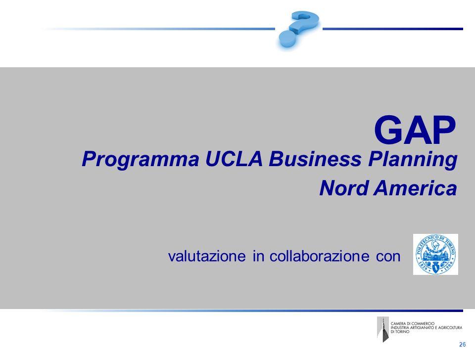 26 GAP Programma UCLA Business Planning Nord America valutazione in collaborazione con