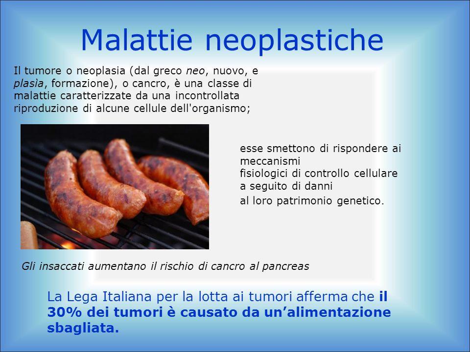 Malattie neoplastiche Il tumore o neoplasia (dal greco neo, nuovo, e plasìa, formazione), o cancro, è una classe di malattie caratterizzate da una inc