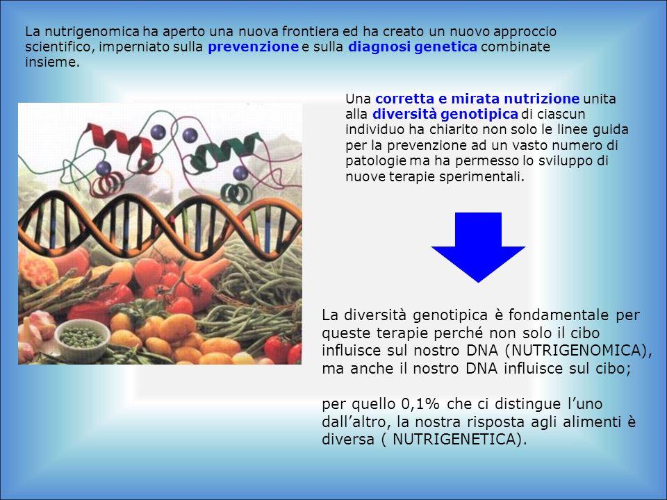 La nutrigenomica ha aperto una nuova frontiera ed ha creato un nuovo approccio scientifico, imperniato sulla prevenzione e sulla diagnosi genetica com