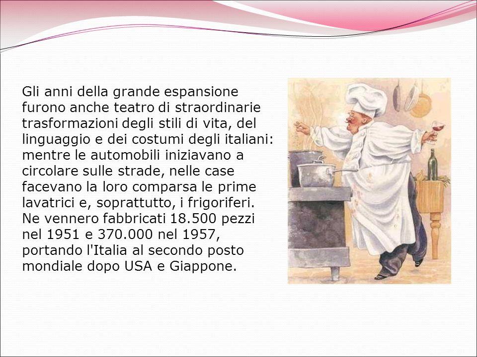 Gli anni della grande espansione furono anche teatro di straordinarie trasformazioni degli stili di vita, del linguaggio e dei costumi degli italiani:
