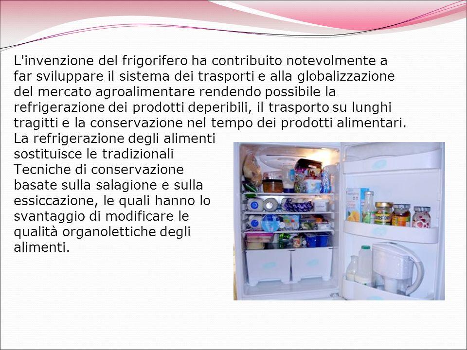 L'invenzione del frigorifero ha contribuito notevolmente a far sviluppare il sistema dei trasporti e alla globalizzazione del mercato agroalimentare r