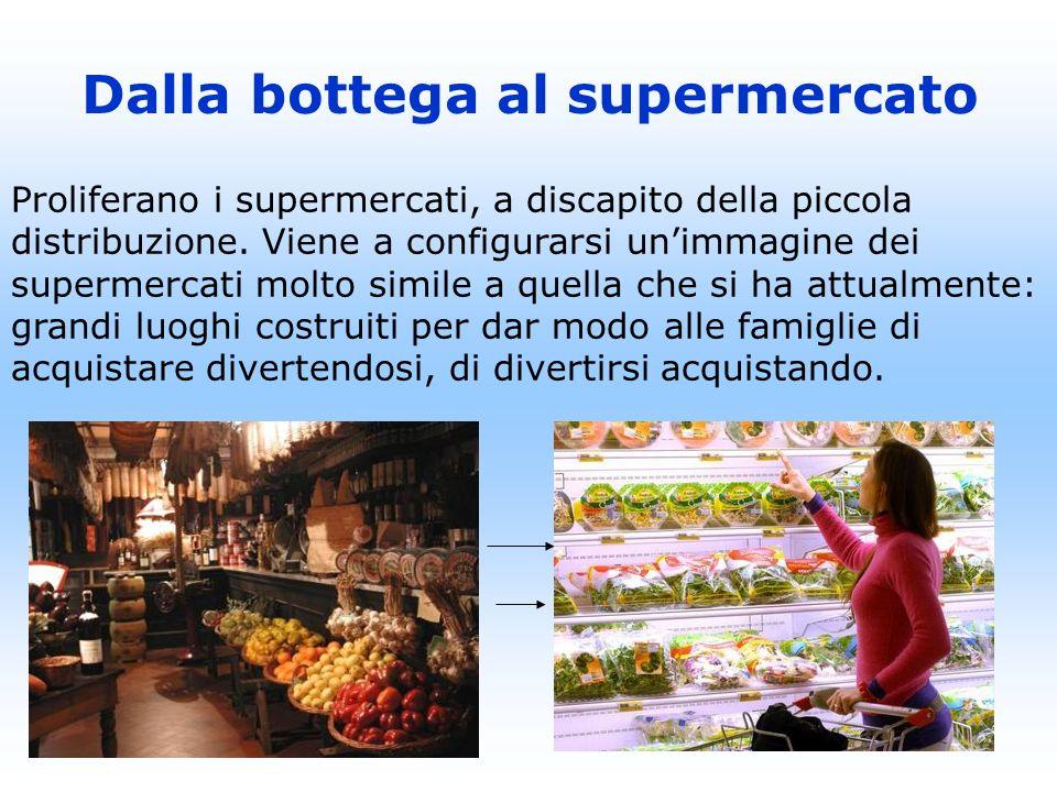 Proliferano i supermercati, a discapito della piccola distribuzione. Viene a configurarsi unimmagine dei supermercati molto simile a quella che si ha