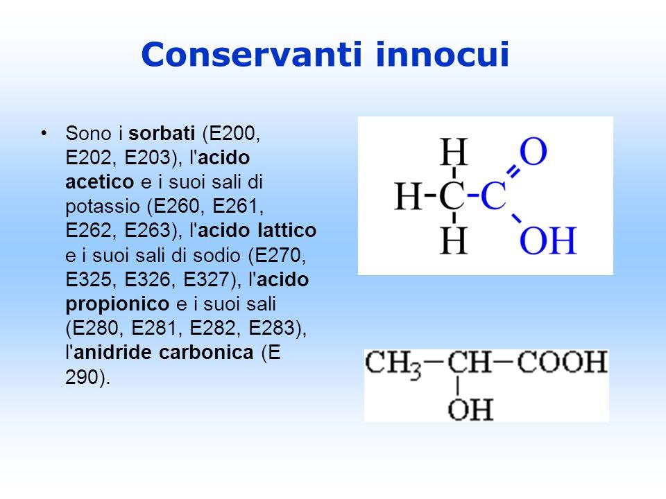 Sono i sorbati (E200, E202, E203), l'acido acetico e i suoi sali di potassio (E260, E261, E262, E263), l'acido lattico e i suoi sali di sodio (E270, E