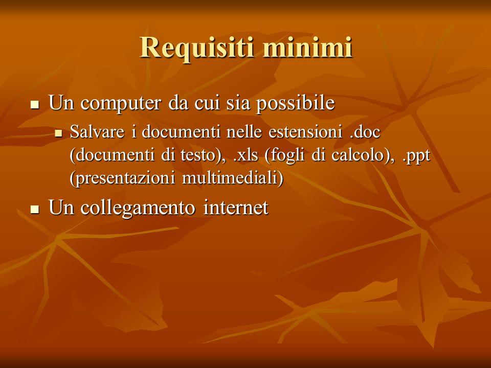Requisiti minimi Un computer da cui sia possibile Un computer da cui sia possibile Salvare i documenti nelle estensioni.doc (documenti di testo),.xls