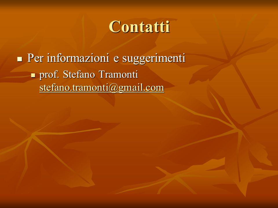 Contatti Per informazioni e suggerimenti Per informazioni e suggerimenti prof.