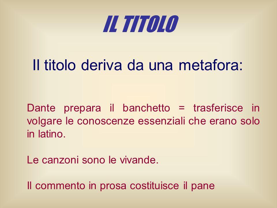Dante prepara il banchetto = trasferisce in volgare le conoscenze essenziali che erano solo in latino. Le canzoni sono le vivande. Il commento in pros