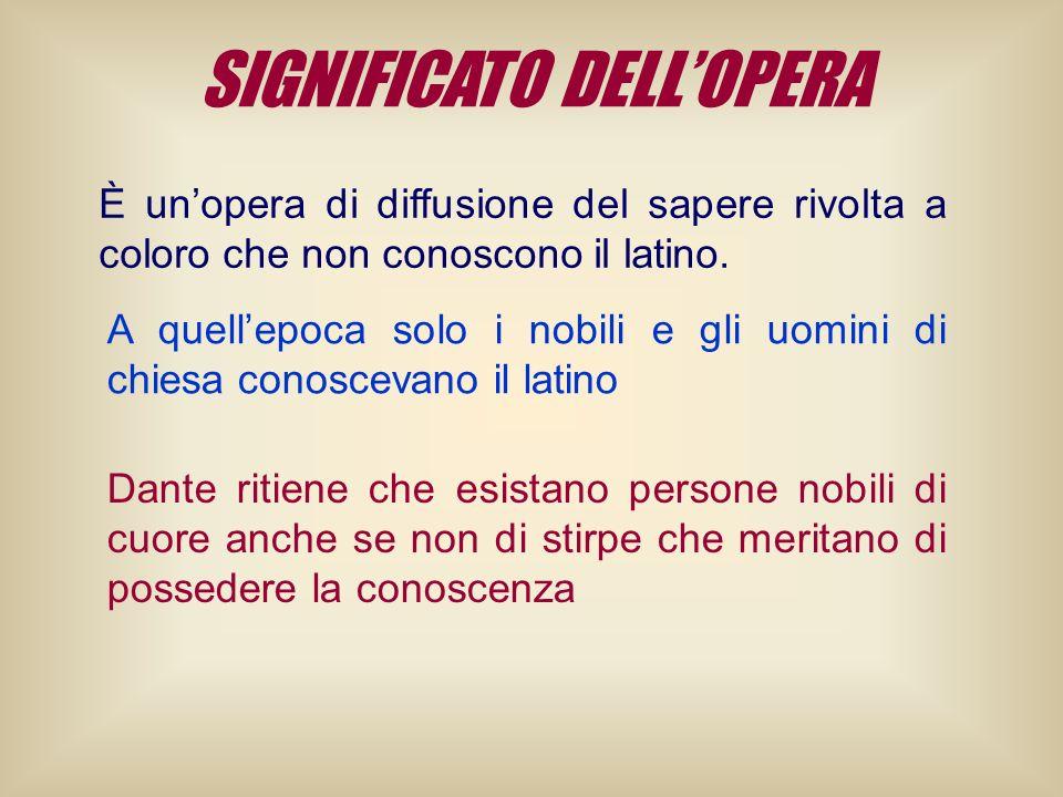 SIGNIFICATO DELLOPERA È unopera di diffusione del sapere rivolta a coloro che non conoscono il latino. A quellepoca solo i nobili e gli uomini di chie