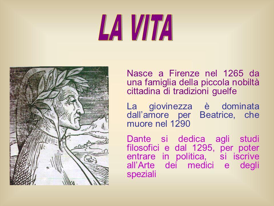 Nasce a Firenze nel 1265 da una famiglia della piccola nobiltà cittadina di tradizioni guelfe La giovinezza è dominata dallamore per Beatrice, che muo