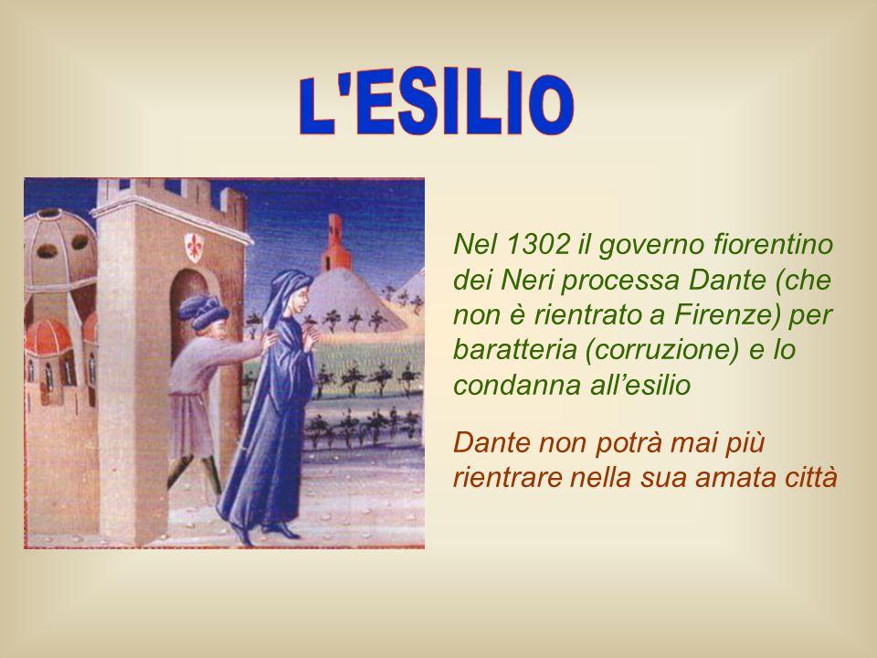 Nel 1302 il governo fiorentino dei Neri processa Dante (che non è rientrato a Firenze) per baratteria (corruzione) e lo condanna allesilio Dante non p