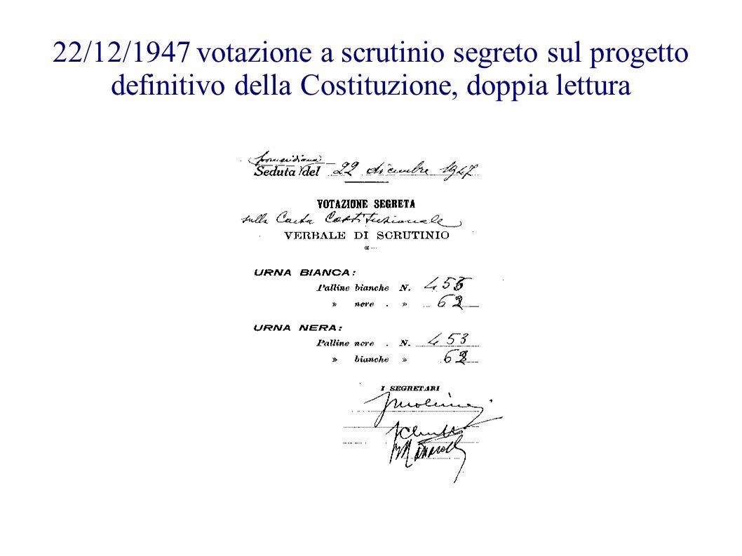 22/12/1947 votazione a scrutinio segreto sul progetto definitivo della Costituzione, doppia lettura