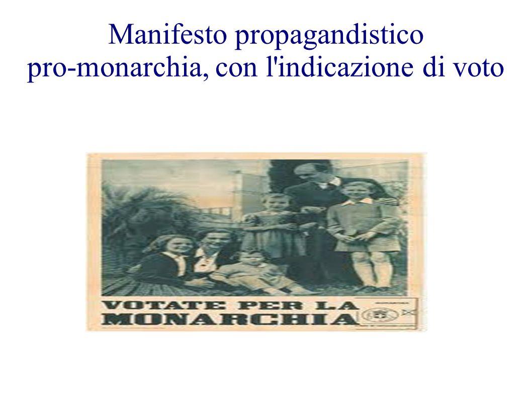Manifesto propagandistico pro-monarchia, con l'indicazione di voto