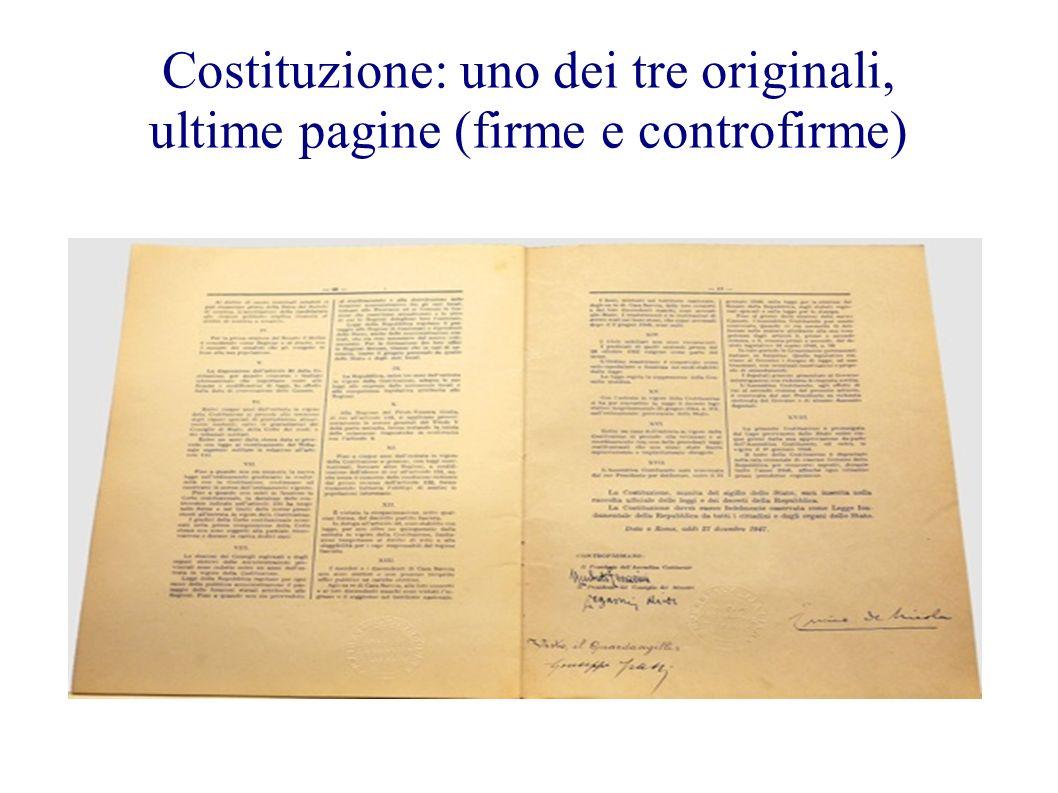 Costituzione: uno dei tre originali, ultime pagine (firme e controfirme)
