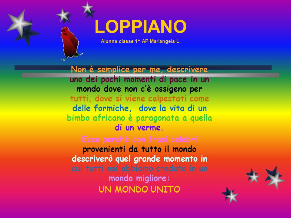 LOPPIANO Alunna classe 1^ AP Mariangela L.