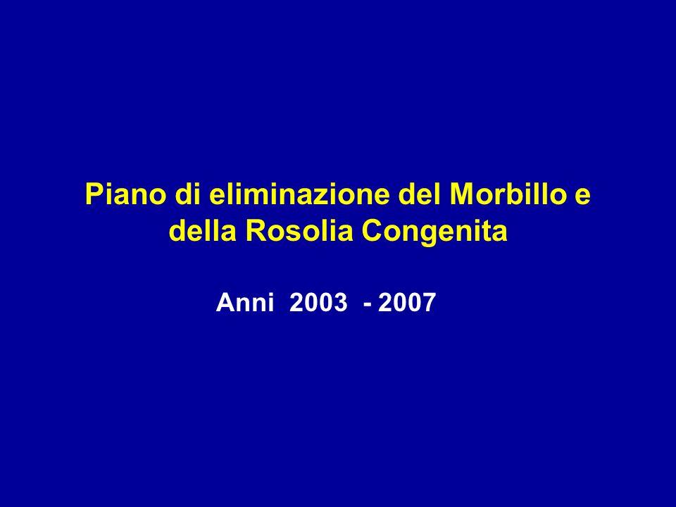 Piano di eliminazione del Morbillo e della Rosolia Congenita Anni 2003 - 2007