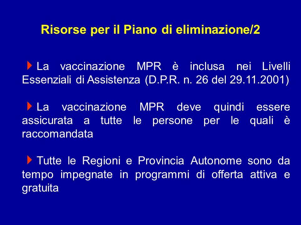 La vaccinazione MPR è inclusa nei Livelli Essenziali di Assistenza (D.P.R.
