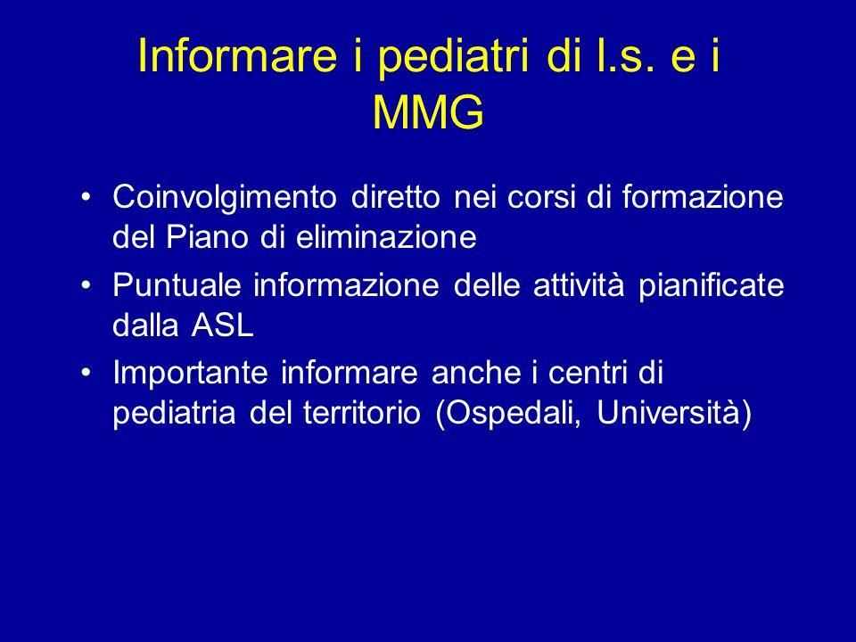 Informare i pediatri di l.s. e i MMG Coinvolgimento diretto nei corsi di formazione del Piano di eliminazione Puntuale informazione delle attività pia