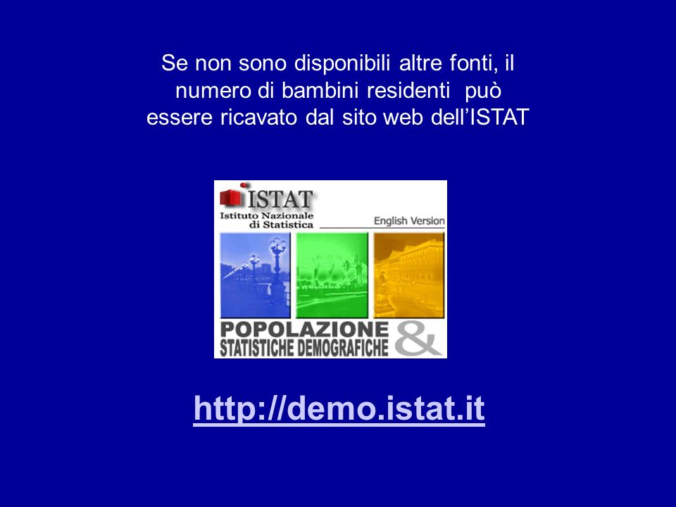 http://demo.istat.it Se non sono disponibili altre fonti, il numero di bambini residenti può essere ricavato dal sito web dellISTAT