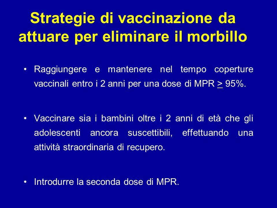 Strategie di vaccinazione da attuare per eliminare il morbillo Raggiungere e mantenere nel tempo coperture vaccinali entro i 2 anni per una dose di MPR > 95%.