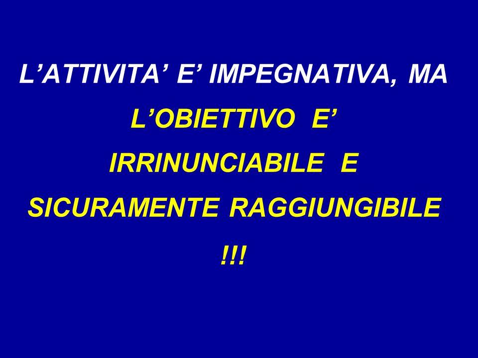 LATTIVITA E IMPEGNATIVA, MA LOBIETTIVO E IRRINUNCIABILE E SICURAMENTE RAGGIUNGIBILE !!!