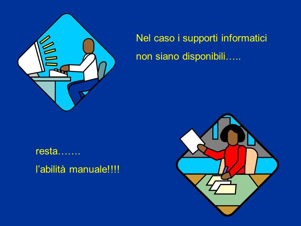 Nel caso i supporti informatici non siano disponibili….. resta……. labilità manuale!!!!