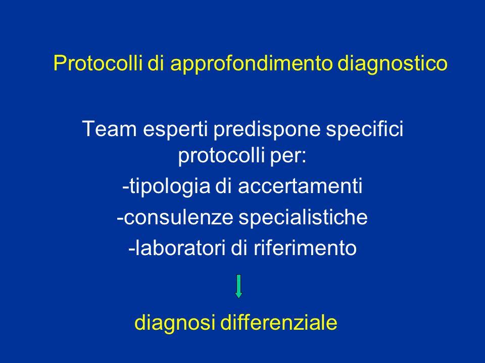 Protocolli di approfondimento diagnostico Team esperti predispone specifici protocolli per: -tipologia di accertamenti -consulenze specialistiche -lab
