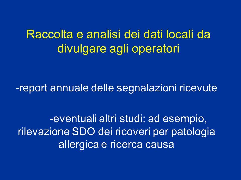 Raccolta e analisi dei dati locali da divulgare agli operatori -report annuale delle segnalazioni ricevute -eventuali altri studi: ad esempio, rilevaz