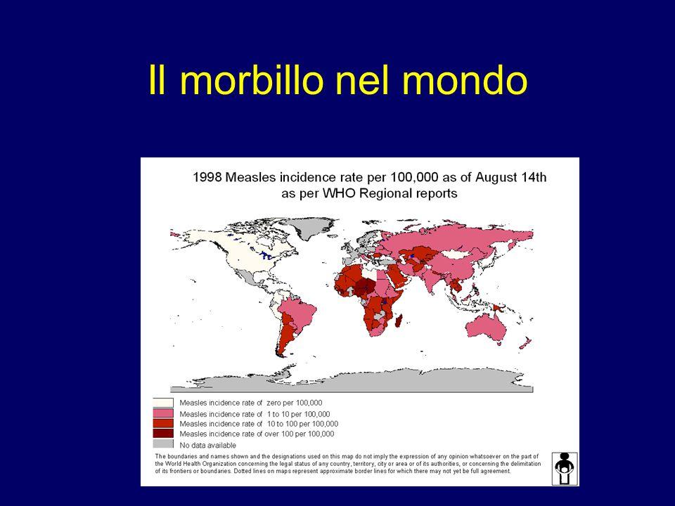 Incidenza del morbillo nella regione Europea Media quinquennale, 1996-2000 >100/100.000 51-100/100.000 21-50/100.000 <1/100.000 Dati non disponibili 1-20/100.000