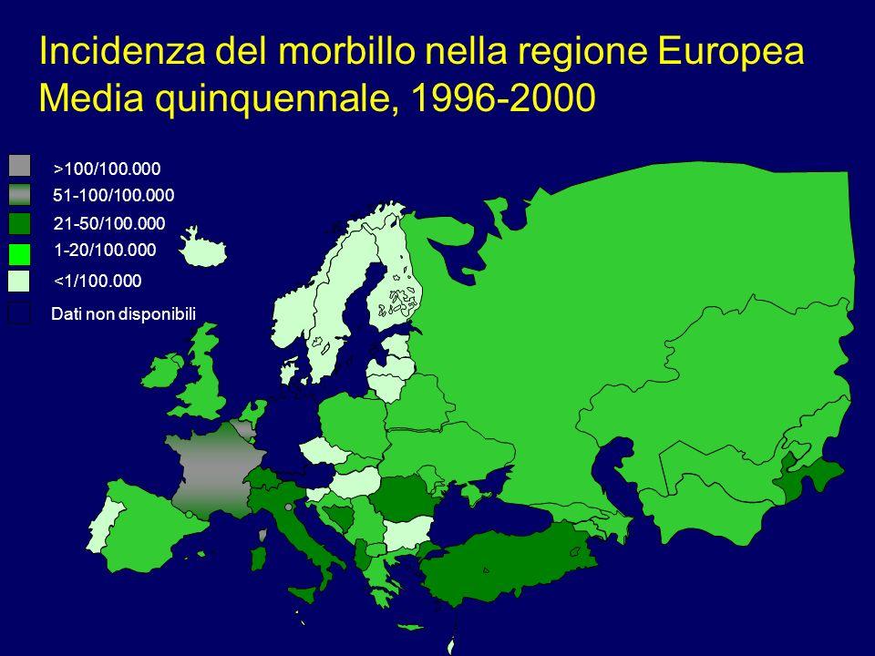 Epidemiologia del morbillo in Italia 1997-2001 Lultima epidemia negli anni 90 si è verificata nel 1997: –41.000 casi notificati –il 95% in bambini < 15 anni Negli anni 1998-2001: –minimo storico di incidenza –durata massima del periodo interepidemico –80% dei casi in bambini < 15 anni
