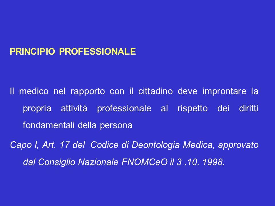 PRINCIPIO PROFESSIONALE Il medico nel rapporto con il cittadino deve improntare la propria attività professionale al rispetto dei diritti fondamentali